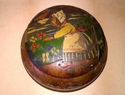 Treen  - Antique Hand Made & Decorated Small Pot - Dutch - Rare Collectable -