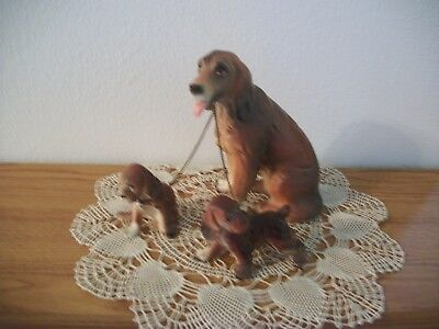 Vintage Dog With Puppies On Leash Figurines
