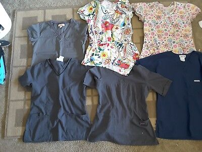 Lot of six xs scrub shirts solids and prints Koi and Cherokee