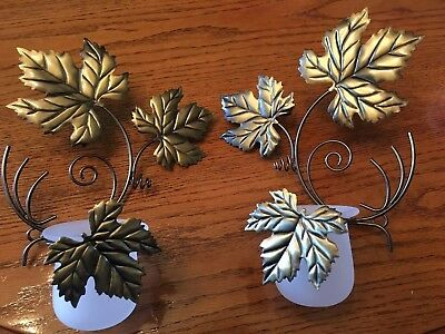 Partylite Antique Grape Leaf Sconce Pair NEW IN THE BOX **FREE SHIPPING**