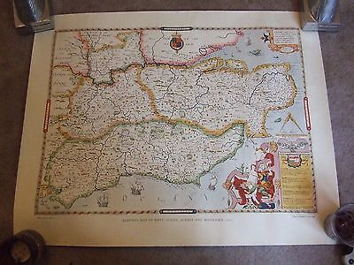 1575 - Saxton's  Map of Kent Surrey Sussex and Middlesex - Facsimile  Map