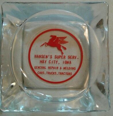 Vintage MOBIL OIL SERVICE STATION Ashtray from MAY CITY, IA