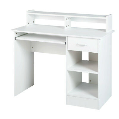 White Computer Desk Small Office Work Table With Keyboard Tray And Drawer