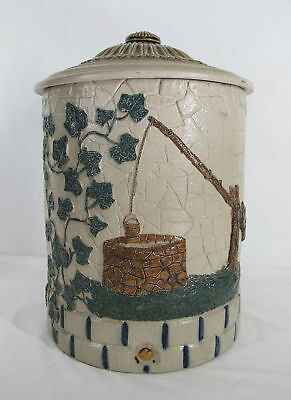 Antique White Pottery New York Hand Painted Stoneware Crock Water Cooler NR yqz