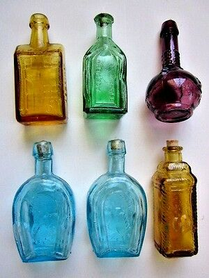 """6 Vintage 1970 s Mini Glass Reproduction Decorative Corked Bottles Taiwan 3"""""""