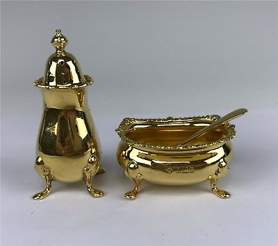 Birmingham English Sterling Silver Pepper Shaker & Salt Cellar w/ Spoon