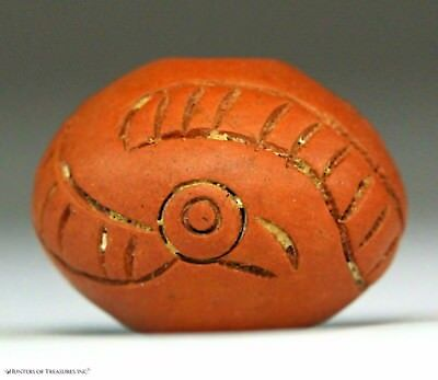 168) Pre Columbian Moche or Chimu Indian Spindle Whorl Bird Bead Artifact