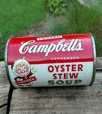 VINTAGE RARE CAMPBELL'S  frozen oyster stew soup can 1950's