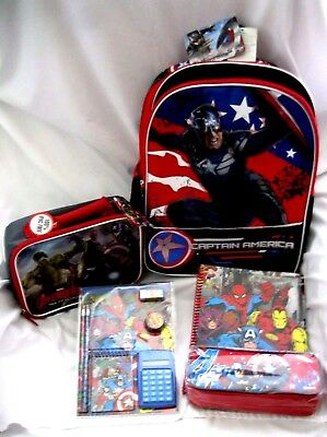 """Captain America 16"""" Backpack,Captain America Lunch Box,& Stationary Set Combo"""