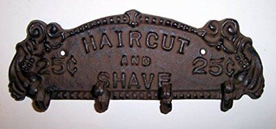 Sign with Hanging Hook Haircut and Shave 25 Cents Heavy Cast Iron Bronze Finish