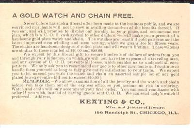 """Free """"Gold Watch & Chain"""" mailed promotional piece; 1896, Keating & Co."""