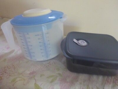 Tupperware Mix N Pour And 1L Heat And Eat Blue