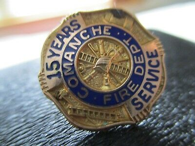 Comanche Texas Fire Department Service Pin 15 years service pin