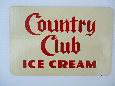 Vintage Country Club Ice Cream sign litho print advertising sign original