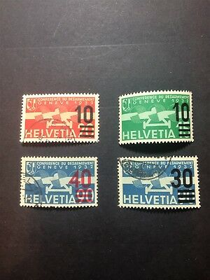Switzerland 1935 Air S/charge. Pt Set  4. 10 On 15/10 On 20/30 On 90/40 On 90.