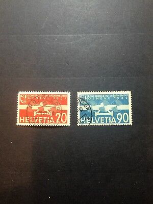SWITZERLAND 1932. PEACEE AND THE AIR POST. 20c PINK/RED & 90c LIGHT BLUE/BLUE UH