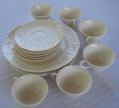 16 Piece Set Vintage Steubenville Rose Point White China made in USA