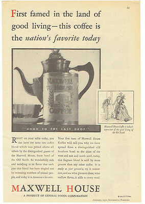 Vintage, Original, 1931 - Maxwell House Coffee Advertisement