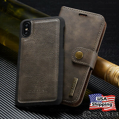 For iPhone X 8/7/6s Plus Leather Removable Wallet Magnetic Flip Card Case Cover