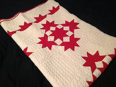 Vtg Antique Red Ivory Tan Starburst Patchwork 84x64 Quilt Early Textile Blanket
