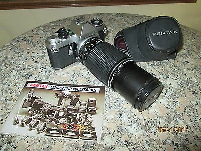 WOW Nice Pentax ME F 35mm SLR Film Camera w/ 1:4.5 80mm-200mm Zoom Lens & case