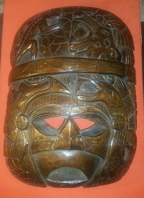 Antique Pre - Columbian High Priest W/Alligator/Eagle/Jaguar/Python Mask