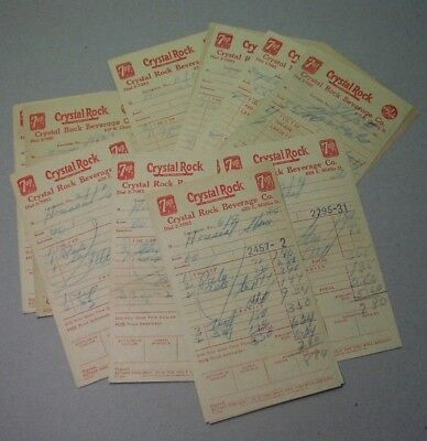 25 invoices, 7-Up 1949-54; Crystal Rock Beverage LANCASTER PA.; Tru-Ade; Houseal