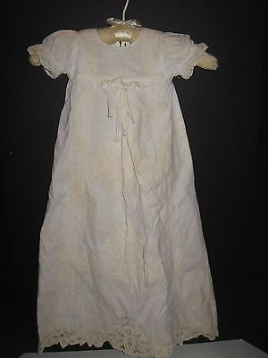 Antique Vintage Cotton Linen Lace Christening Dress Gown BIRDS BRAND