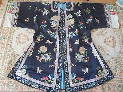 Fine Chinese Embroidered Robe Peking knot Stitch Excellent Condition Antique !