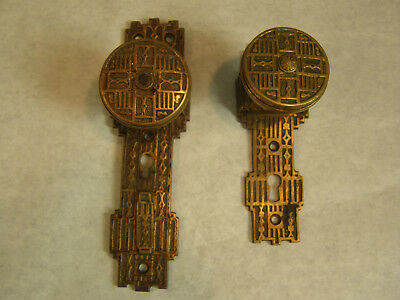 Pair Of Antique Brass Door Knob With Door Plates