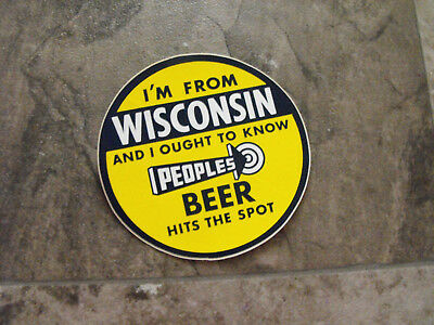 Authentic Hits The Spot Peoples Beer Vintage Decal Oshkosh Wisconsin