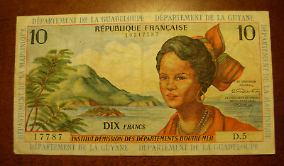 French Antilles ND 1964 10 Francs Note P8b
