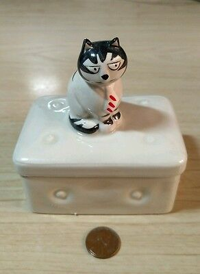 Hand Painted Ceramic Trinket Box of Tom Cat by Takahashi, San Francisco