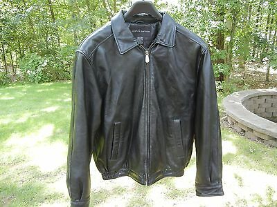 Men's Awesome Black Leather Bomber Jacket Size Small