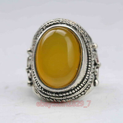 Exquisite Tibet Silver Inlaid Beeswax Handwork National Fashion Ring Ljw461