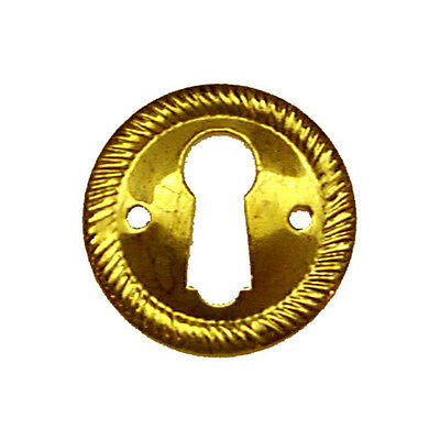 BULK PACK OF 5 ...Brass Keyhole Plate One inch Diameter Polished Brass Finish