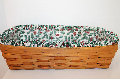 1993 Longaberger Bread  Basket,  Protector, Holly Fabric
