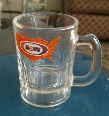 Vintage A&W Baby Mug Heavy Glass with USA map with logo