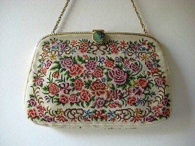 Vintage Petit Point Evening Bag with Jade Clasp