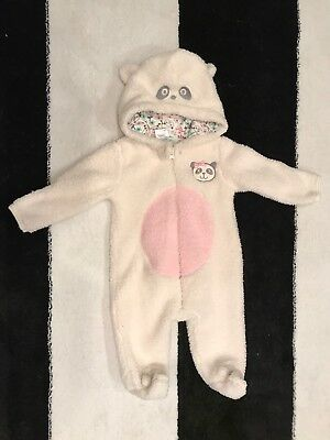 EUC Girls Baby Gear Winter Bunting Hooded One Piece Coat 0-3 Months