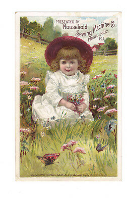Household Sewing Machine Victorian Trade Card Young Girl in Field of Flowers