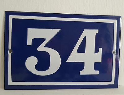 ANTIQUE FRENCH ENAMEL HOUSE NUMBER SIGN Door gate plaque street plate 34