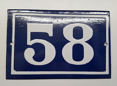 ANTIQUE FRENCH ENAMEL HOUSE NUMBER SIGN Door gate plaque street plate 58