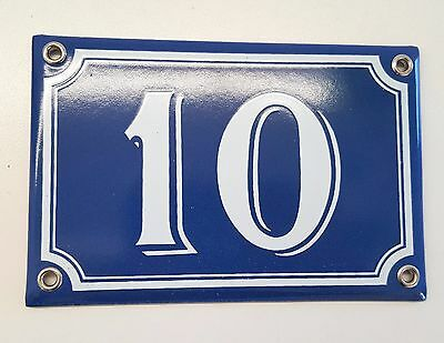 Vintage enamel HOUSE NUMBER SIGN 10 Blue and white French plaque