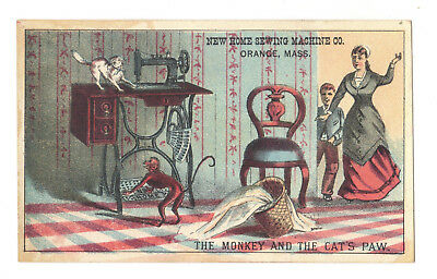 The Monkey and The Cat's Paw -  New Home Sewing Machine Victorian Trade Card