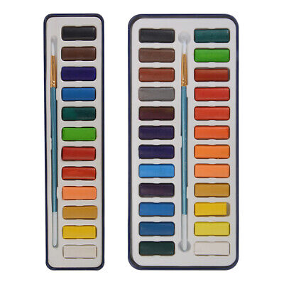 12/24 Colors Watercolour Painting Artist Paints Tablets Blocks Tin Set + Brush