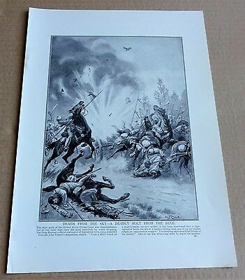 "Vintage Ww1 Magazine Print ""death From The Sky - A Deadly Bolt From The Blue"""
