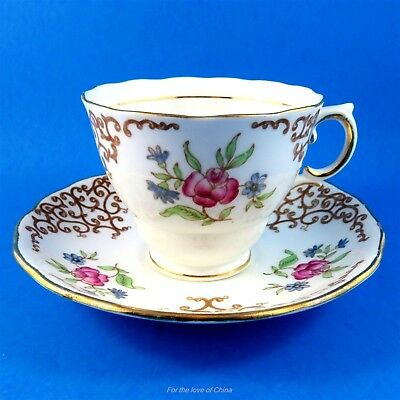 Lovely Scroll and Floral Colclough Floral Tea Cup and Saucer