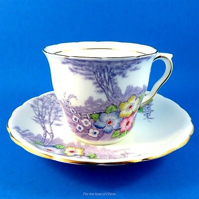 Lovely Colclough Handpainted Florals on Purple Scenic Tea Cup and Saucer Set