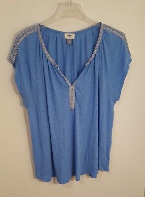 Old Navy Blue Shirt Blouse Top. V Neck Short Sleeve Women's Size XL